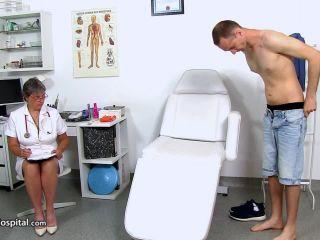 handjob - SpermHospital – Busty uniform lady Doris ball bondage therapy