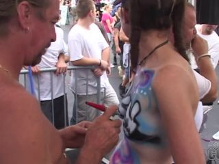 Some Chicks Getting Their Tits Body Painted On Duval Street Key West