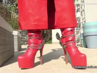 Red leather coat JOI