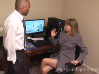 Clare Spanked for Pleasuring Herself in Office