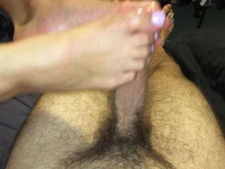 Footjob — Perfect Toes Tightly Grab Dick in Teen Footjob W Big Cumshot on Toes
