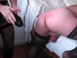 Huge black strapon ruined husbands asshole | strapon | big ass