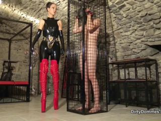 Dirty Dommes — Fetish Liza — Caged male milking meat — Forced Male Orgasm, Femdom