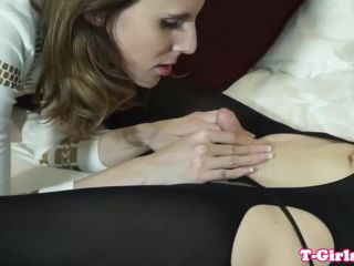 Glam lesbian trans assfucking in stockings -