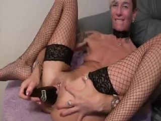 MyDirtyHobby presents lady-isabell666 in Inserting a beer bottle and a wooden dildo