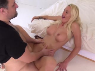 Fake tittied blonde takesssy facial