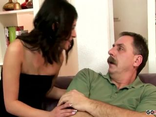 Girl and old man fucking on the couch