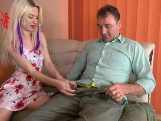 Naughty blonde playing with neighbor's cock while hubby films