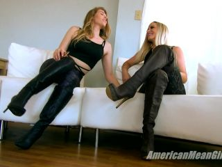 Boot Domination – THE MEAN GIRLS – The Slave Under The Stairs – Goddess Platinum and Amber