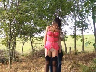 china bondage shibari public outdoor blindfold