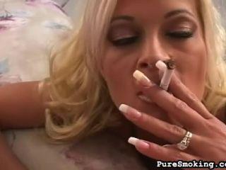 Seductive Smoker On Her Knees