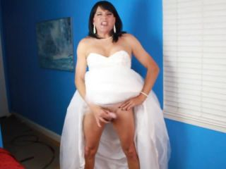 Mature CD Stephanie stroke and cum in her wedding dress