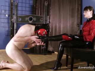 Boots – Femdom and StrapOn Clips – Suffering for the key – Chastity Cage