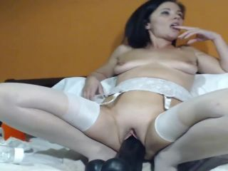 Webcam kinky mature wine bottle and BBC dildo rides