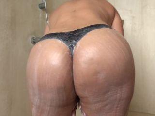 bbw - Huge Boobed Latina Under Shower