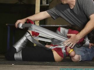 {hom, Panty Gag, Tape Breast Bondage, And A Tight Hogtaping For