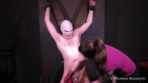 Porcelain Beauty  starring in video (Chastity Slave Kicked in the Balls) [FullHD 1080P]