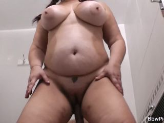 Big tits plumper rides his cock in the public restroom