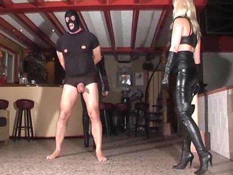 MISTRESS KELLY KALASHNIK, DOMINATRIX DINAH starring in video (Ballbusting Team in Action) [SD 576P]