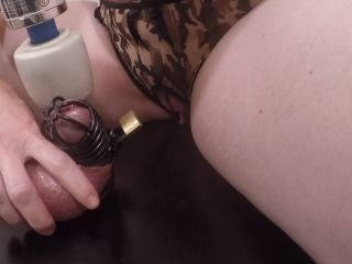 Femdom Chastity Cock On The Glory Hole Table Vibrated to Thick Cum Shot