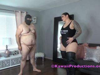 tall femdom Mistress Kawaii: Leather Boots Ballbusting Fun, cbt on femdom porn