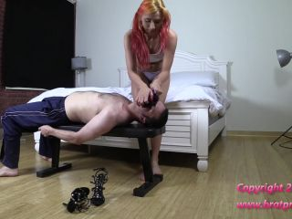 bratprincess  amadahy  scissoring in purple tights and thong  over mouth