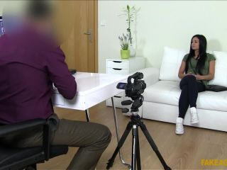 Raven-haired Babe on Casting Couch