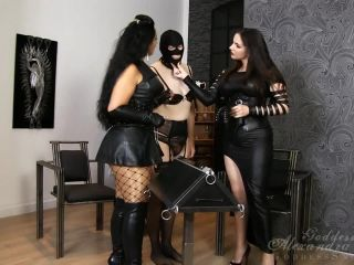 Goddess Alexandra Snow  Caning the Slave. Starring Mistress Ezada Sinn and Alexandra Snow [Caning, Cane, Canes, Canning]