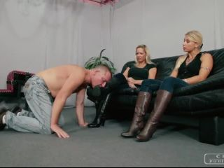Humiliation – CRUEL PUNISHMENTS – SEVERE FEMDOM – Feet forced in his mouth – Mistress Zita and Mistress Melanie