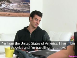 Young female agent gets facial from rican stud