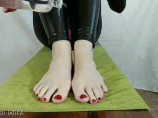 POV Intense Footjob in Catsuit, w/ Oiled Bare Feet, then Latex Toe Socks