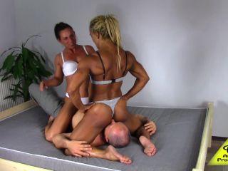 Antscha Productions – Kyra, Iron – FBB girls double facesitting on guy