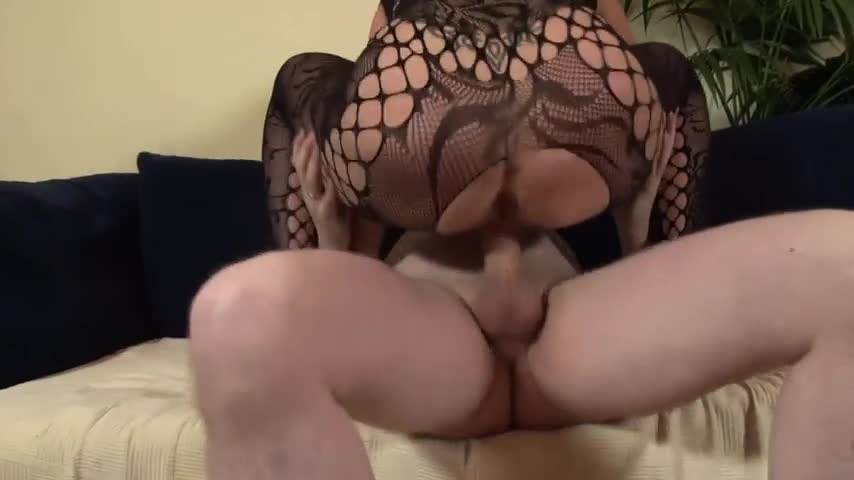 Hot brunette in black stockings having sex with three older dudes