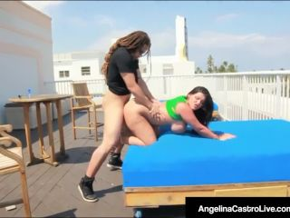 Curvy cuban  is sy pounded on hotel roof
