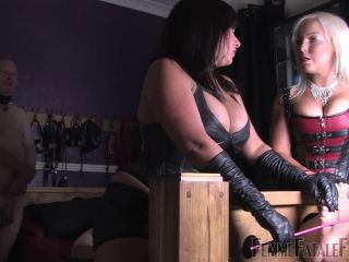 Dual Domination – Femme Fatale Films – Beating Soles – Part 1 – Mistress R'eal and Miss Deelight