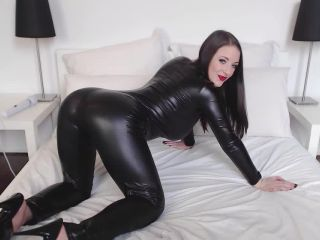 Angela White in Black Catsuit