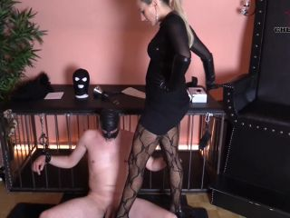 CHERIE NOIR – HARD AND UNCUT – Leather CBT Cock torture and long leather gloves