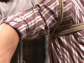 Hot cowboy tied up for the first time and shoots a load onto his face on feet porn bdsm shock