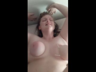 Daddy fucking hard and slapping my tied up tits