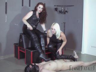 ear fetish porn fetish porn | Femmefatalefilms - Mistress Heather, Mistress Lady Renee - Brutal Boots Complete | foot humiliation