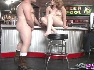 Nina Stevens Dommes and makes the Bartenders Cum on her Feet