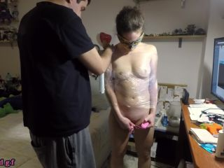 Tickle and orgasm while she is mummified