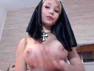 Dirty nun huge dildo anal penetration