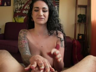 Arabelle's Busty Playground – Stroking His Oil Covered Cock