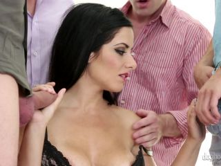 Sexy Dark Haired Babe in Red Sucks and Fucks Multiple Hard Cocks 2015