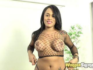 Mariana Rios - Fishnet Lingerie Latina Shemale Masturbation - WonderShemale, HotHotFilms (FullHD 2020)