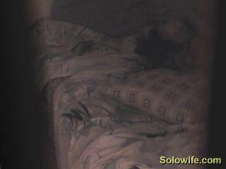 Horny girl humping masturbating on the bed. hidden cam