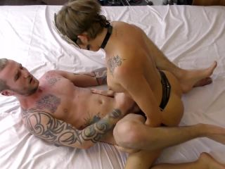 Teen couple passionate pegging with new leather strap on