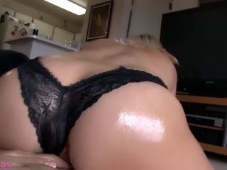 Oiled up and horny heather gives a hot panty job