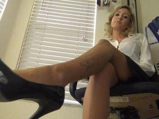 hot secretary giving hand and footjob in tan pantyhose